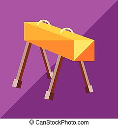 The pommel horse to the two-tone background. Picture style...