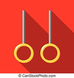 Gymnastic rings on a red background with long shadow....
