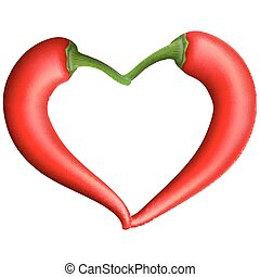 Red chili pepper heart. EPS 10