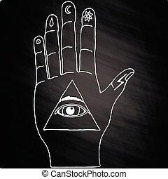 Sunburst, hand, ornaments. Illuminati symbols on chalkboard...