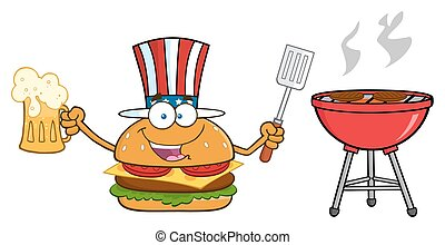 American Burger Holding A Beer - American Burger Cartoon...