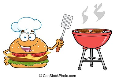 Chef Burger Holding A Spatula - Chef Burger Cartoon Mascot...