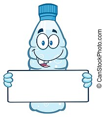 Water Bottle Holding A Blank Sign - Cartoon Illustation Of A...
