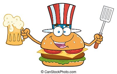 Happy American Burger Cartoon Mascot Character Holding A...