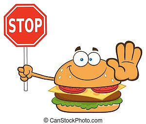 Smiling Burger Holding A Stop Sign