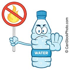 Water Bottle Holding A No Fire Sign - Cartoon Illustation Of...
