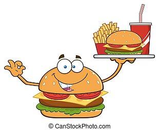 Burger Character Holding A Platter - Burger Cartoon Mascot...