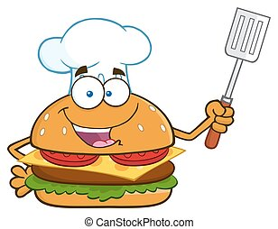 Burger Holding A Slotted Spatula - Chef Burger Cartoon...