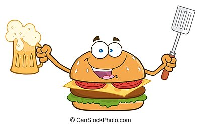 Burger Holding A Beer - Happy Burger Cartoon Mascot...