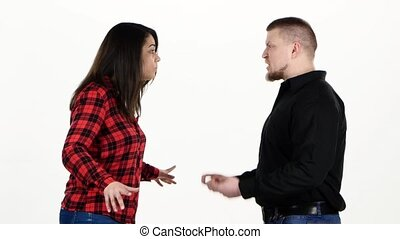 Woman and man very emotional quarrel. White