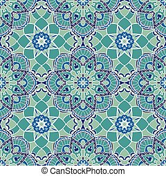 Vector turquoise pattern. - Oriental seamless pattern of...
