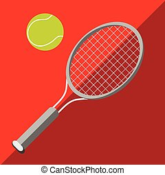 Tennis racket and ball on a two-tone background Picture...