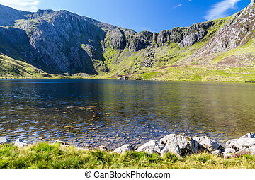 Lake and mountains, Llyn Idwal and the Devilrsquo;s Kitchen...