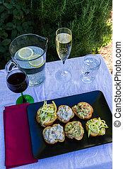 Italian Cicchetti Italian snacks on brad like bruschetta,...