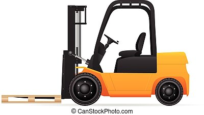 Forklift with pallet on a white background.