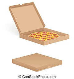 pizza in box - Delicious pizza in box isolated on white...