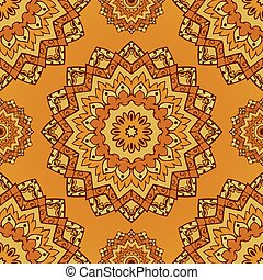 Vector yellow pattern - Oriental yellow pattern of mandala...