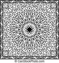 Template for carpet - Oriental filigree pattern Vector black...