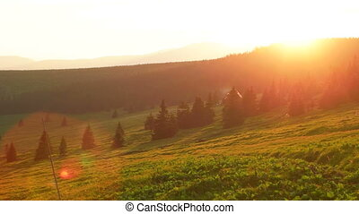 Sun Setting Down Behind Snezka Mountains - Sun falling down...