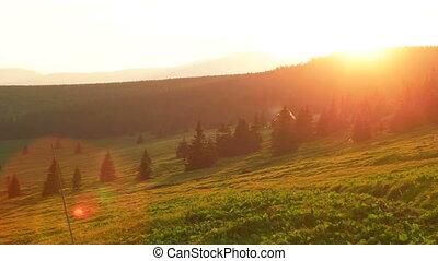 Sun Setting Down Behind Snezka Mountains - Sun falling down...