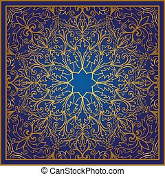 Blue and gold ornament. - Vector blue background with...