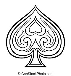 Ornamental spades with heart. - Vector contour suit of...
