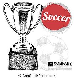 Poster design of soccer ( football ). illustration eps10