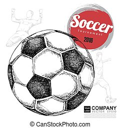 Drawing of soccer background ,Poster ,Brochure .