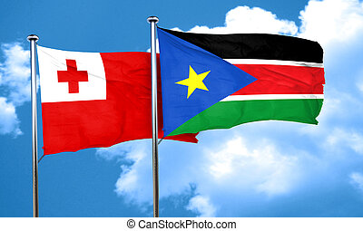 Tonga flag with South Sudan flag, 3D rendering