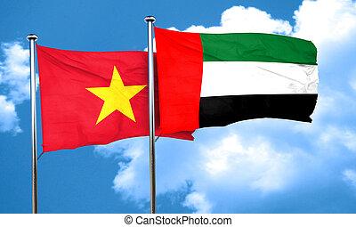 Vietnam flag with UAE flag, 3D rendering