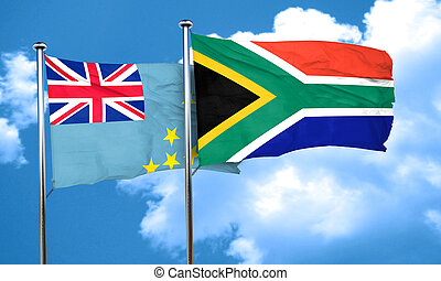 Tuvalu flag with South Africa flag, 3D rendering