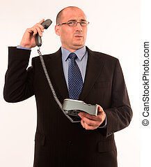 Businessman speaking to angry customer