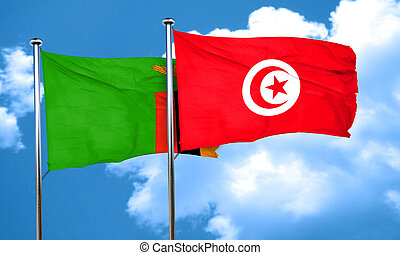 Zambia flag with Tunisia flag, 3D rendering