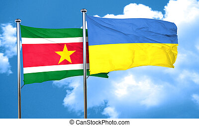 Suriname flag with Ukraine flag, 3D rendering