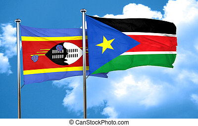 Swaziland flag with South Sudan flag, 3D rendering