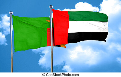 Zambia flag with UAE flag, 3D rendering