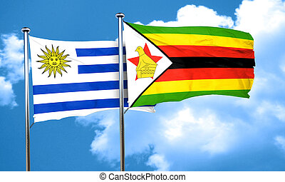 Uruguay flag with Zimbabwe flag, 3D rendering