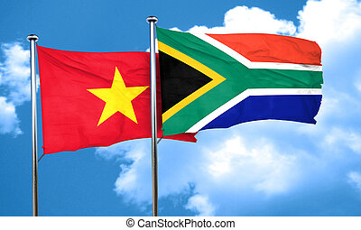 Vietnam flag with South Africa flag, 3D rendering