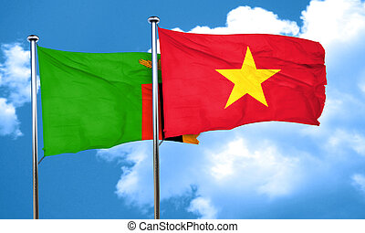 Zambia flag with Vietnam flag, 3D rendering