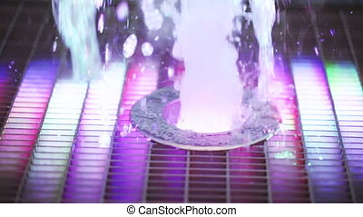 Floor fountain in park - Slow motion video fountains streams...