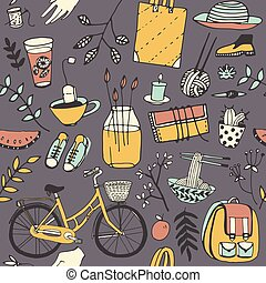 Everyday things. Good mood doodle in vector. Bicycle, food,...