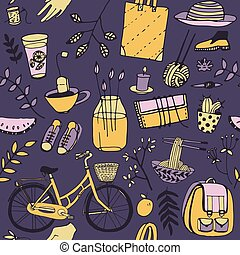 Everyday things Good mood doodle in vector Bicycle, food,...