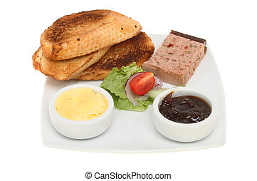 Pate and toast - Farmhouse pate with toast, salad, butter...