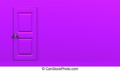 Purple Door With Text Space And Green Chroma Key Abstract...