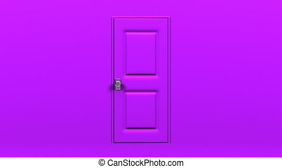 Purple Door And Wall Abstract 3DCG render Animation