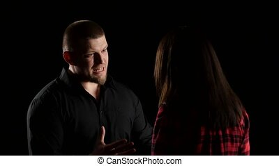 Emotional conversation of pair. Man exasperated prove something to woman. Close up