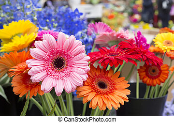Fresh flowers in front of a flower shop