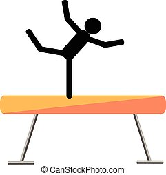 Gymnastic balance beam on a white background. Picture style...