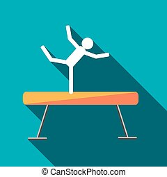 Gymnastic balance beam with long shadow. Picture style flat