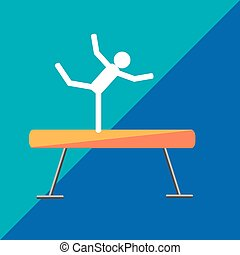 Gymnastic balance beam on two-tone background. Picture style...